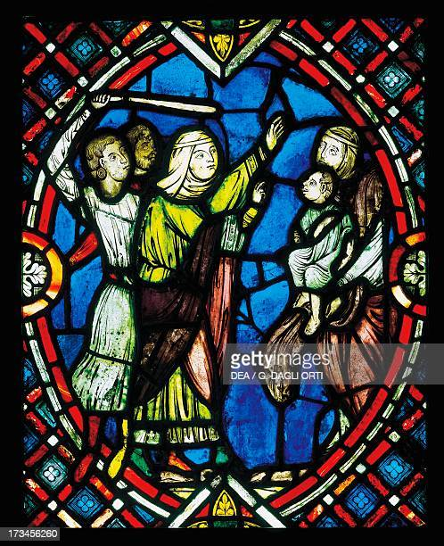 Healing of the child who swallowed a fish bone Story of St Blaise Bishop of Sebaste in Armenia stained glass window France Paris Musée Du Louvre