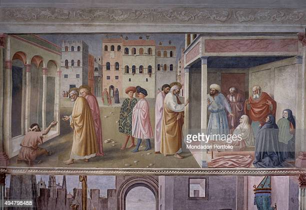 Healing of the Crippled Man and Raising of Tabitha by Masolino da Panicale 14241425 15th Century fresco 260 x 599 cm Italy Tuscany Florence Church of...