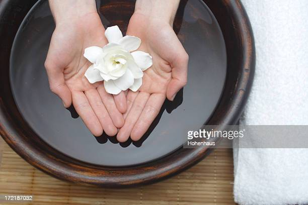 healing therapy with water and flower
