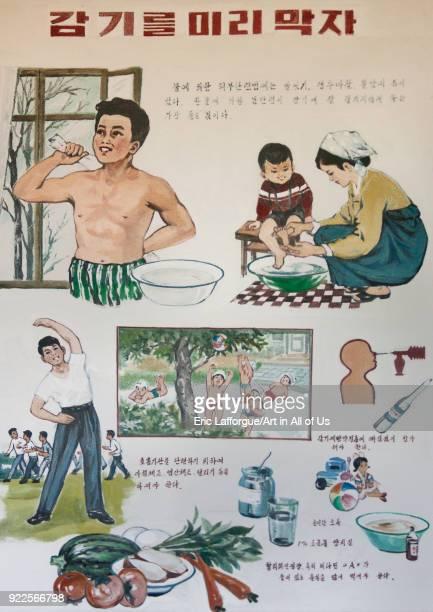 Health advice and information poster in a village South Pyongan Province Chongsanri Cooperative Farm North Korea on September 12 2011 in Chongsanri...
