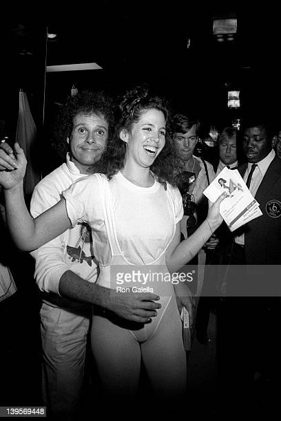 Health Advocate Richard Simmons and actress Jennifer Levitt attend the launch party for Richard Simmons 'Everyday' Excercise Video on June 20 1983 at...