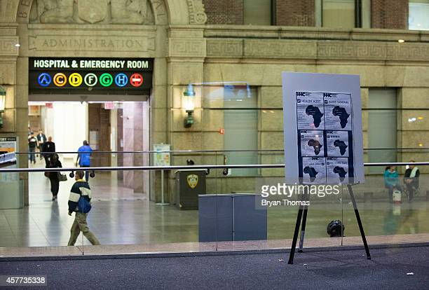 A health alert is displayed at the entrance to Bellevue Hospital October 23 2014 in New York City After returning to New York City from Guinea where...