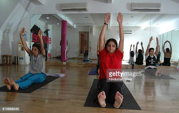 Health and Fitness Yoga Yoga class at Moksh Gym at Breach Candy