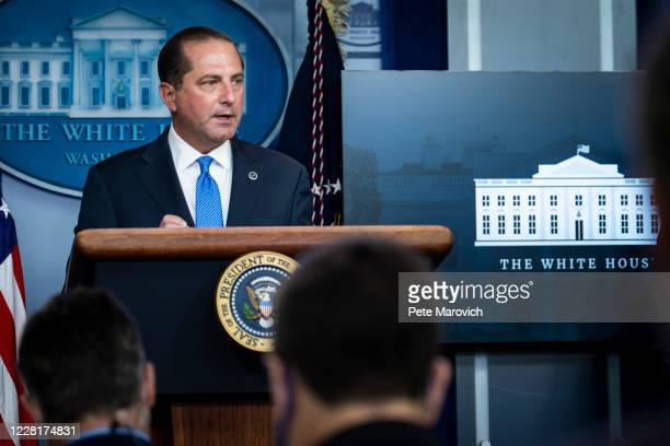 Health and Human Services Secretary, Alex Azar, addresses the media during a press conference in James S. Brady Briefing Room at the White House on...