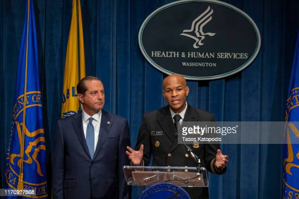 Health and Human Services Secretary Alex Azar and Surgeon General Jerome Adams speak at press conference on August 29 2019 in Washington DC Surgeon...
