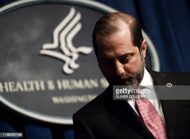 Health and Human Services Secretary Alex Azar arrives to speak during a press conference at the Department of Health and Human Services on the...