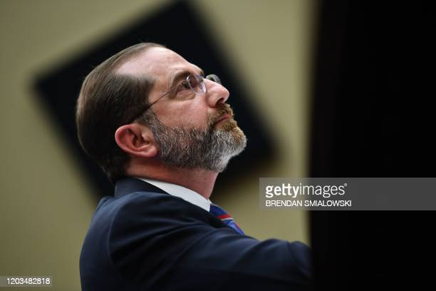 "Health and Human Services Secretary Alex Azar listens during a House Energy and Commerce Committee Health Subcommittee hearing on ""The FY2021 HHS..."