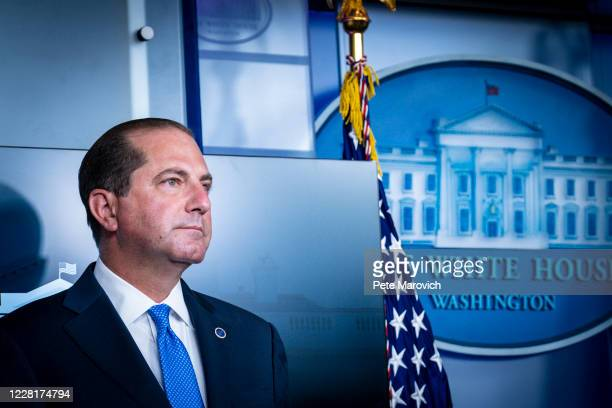 Health and Human Services Secretary, Alex Azar, looks on as President Donald Trump announces that the Food and Drug Administration is issuing an...