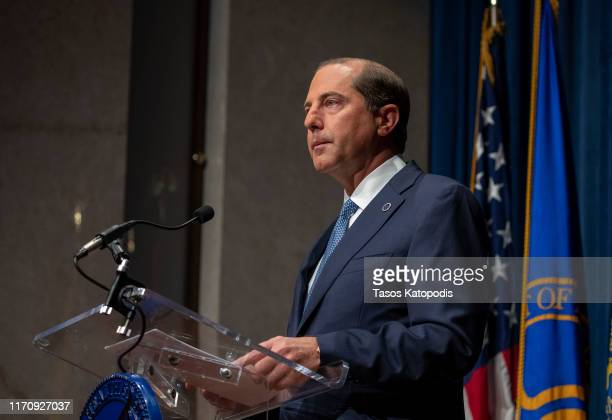 Health and Human Services Secretary Alex Azar speaks at press conference on August 29 2019 in Washington DC Surgeon General issued an advisory...