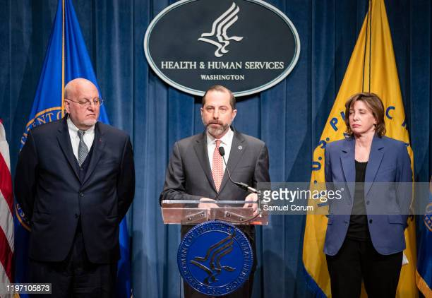 Health and Human Services Secretary Alex Azar speaks during a press conference on the coordinated public health response to the 2019 coronavirus on...