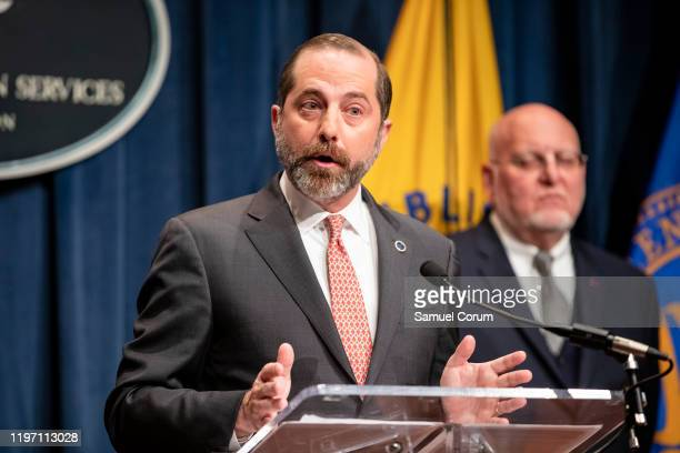 Health and Human Services Secretary Alex Azar speaks during a press conference today on the coordinated public health response to the 2019...
