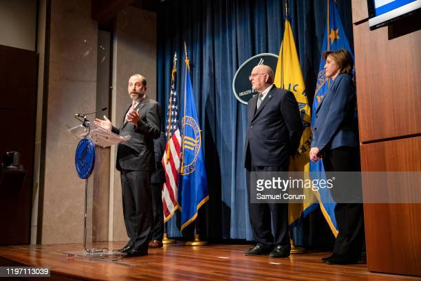 Health and Human Services Secretary Alex Azar speaks during a press conference today at the Department of Health and Human Services on the...