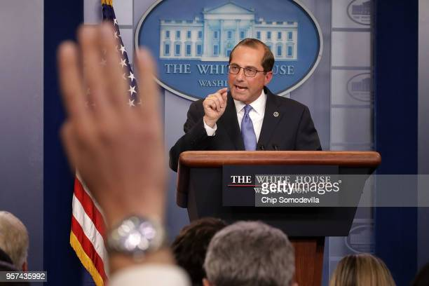 S Health and Human Services Secretary Alex Azar takes questions from reporters in the Brady Press Briefing Room at the White House May 11 2018 in...