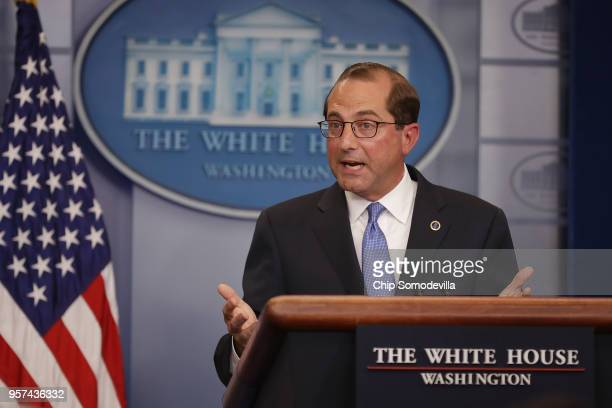 Health and Human Services Secretary Alex Azar takes questions from reporters in the Brady Press Briefing Room at the White House May 11, 2018 in...