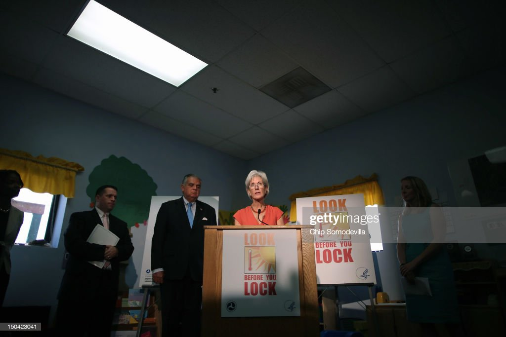 LaHood And Sebelius Unveil New Campaign To Prevent Child Heatstroke In Cars : News Photo