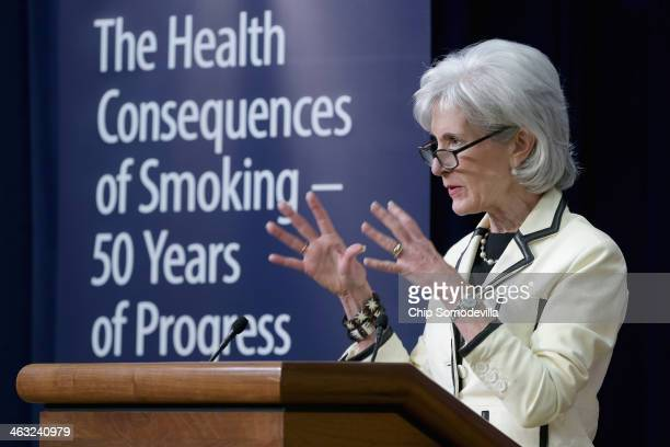 Health and Human Services Secretary Kathleen Sebelius delivers remarks during an event marking the 50th anniversary of the US surgeon general's...