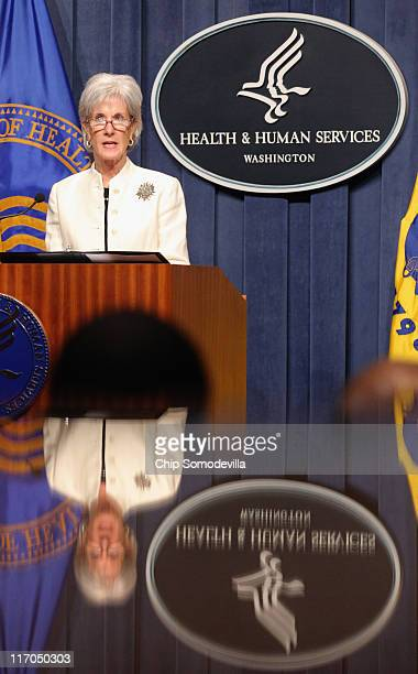 Health and Human Services Secretary Kathleen Sebelius gives brief remarks at the beginning of a news conference about Medicare at HHS June 20 2011 in...