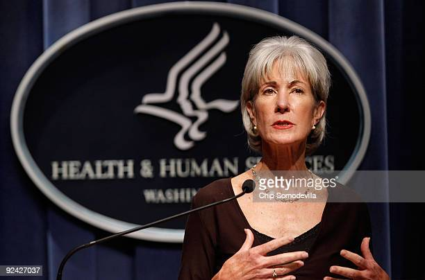 Health and Human Services Secretary Kathleen Sebelius holds a news conference to discuss the government's response to the H1N1 virus at the...