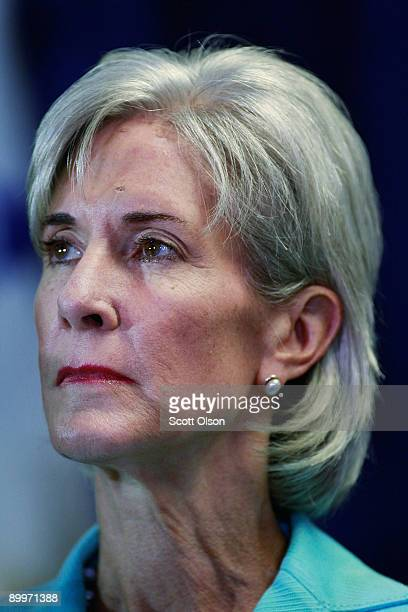 Health and Human Services Secretary Kathleen Sebelius listens to health care professionals during a roundtable discussion on health insurance reform...