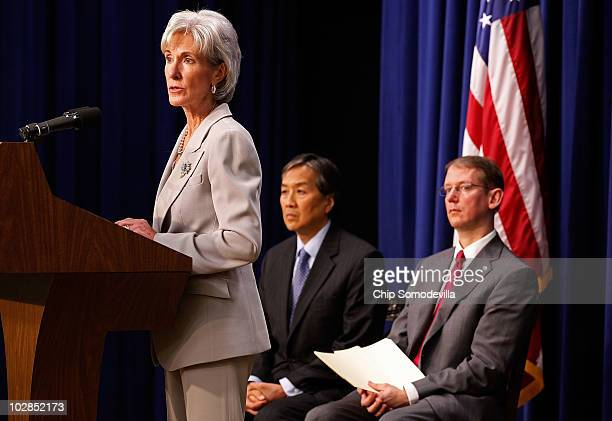 Health and Human Services Secretary Kathleen Sebelius speaks during the unveiling of the National HIV/AIDS Strategy with HHS Assistant Secretary for...