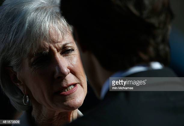 Health and Human Services Secretary Kathleen Sebelius speaks with guests before US President Barack Obama spoke on the Affordable Care Act with Vice...
