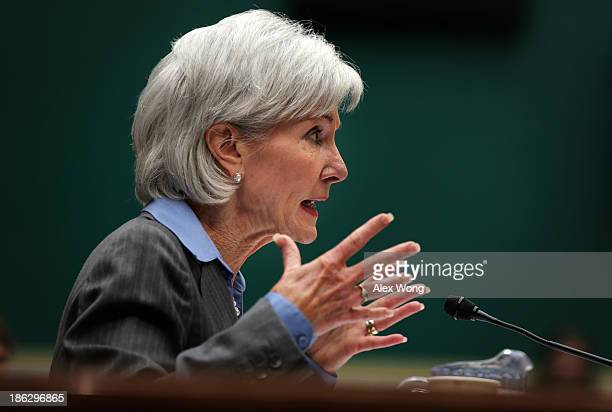 Health and Human Services Secretary Kathleen Sebelius testifies during the House Energy and Commerce Committee hearing about the troubled launch of...