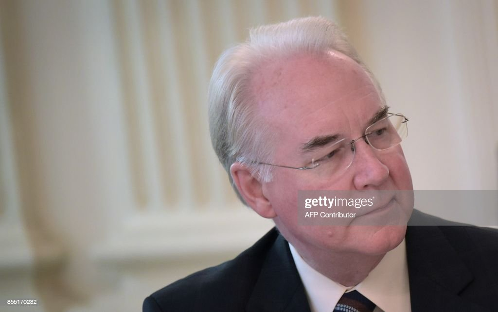 Health and Human Services Secretary Tom Price attends a round table discussion on opioid abuse in the State Dining Room of the White House on September 28, 2017 in Washington, DC. /
