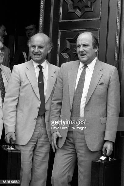 Health and Safety Commissioner Alan Tuffin and Roger Lyons the Manufacturing Science and Finance Union leader at the Department of Energy in London...