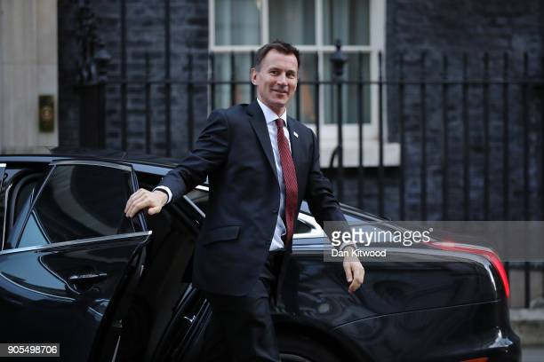 Health and Social Care Secretary Jeremy Hunt arrives at 10 Downing Street for the weekly cabinet meeting on January 16 2018 in London England