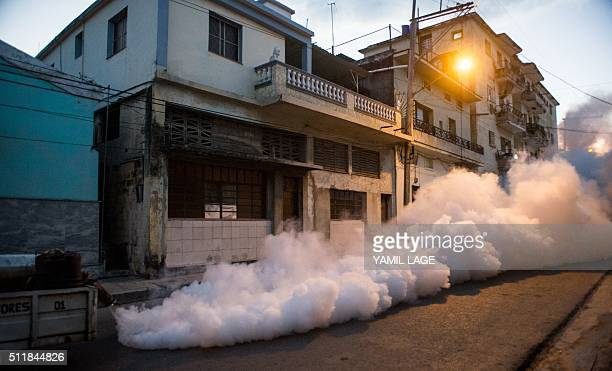 Health authorities with the help of the Cuban army fumigate against the Aedes aegypti mosquito to prevent the spread of zika, chikungunya and dengue...