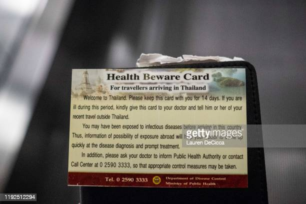 A Health Beware Card handed out by Public Health Officials after performing a thermal scans on passengers arriving from Wuhan China at Suvarnabumi...