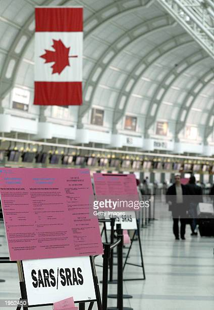 Health Canada notices warn travelers against Severe Acute Respiratory Syndrome commonly known as SARS at Pearson International Airport April 25 2003...