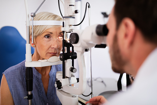 Health care, people, eyesight and technology concept 1179731316