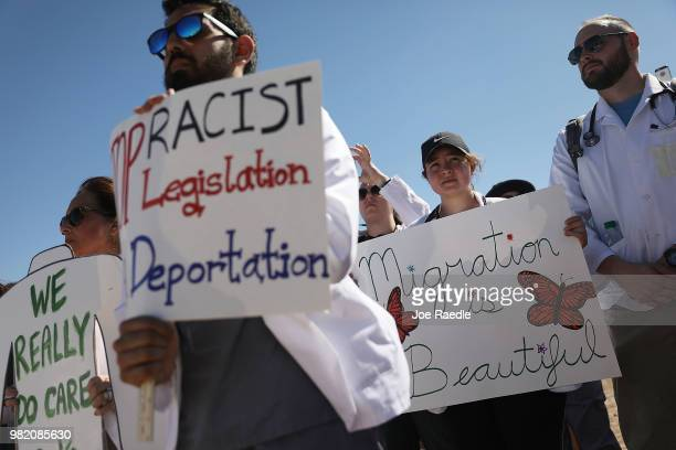 Health care professionals protest outside the tent encampment near the Tornillo-Guadalupe Port of Entry on June 23, 2018 in Tornillo, Texas. The...