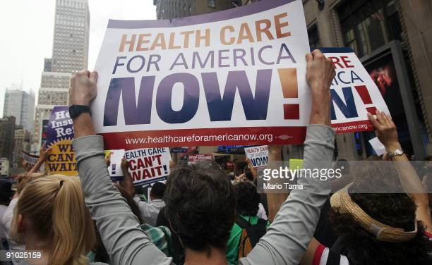 Health care reform supporters gather at a 'Big Insurance Sick of It' rally September 22 2009 in New York City The protest is part of a national day...