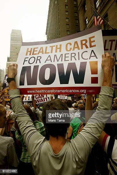 Health care reform supporters protest at a 'Big Insurance Sick of It' rally September 22 2009 in New York City The protest is part of a national day...