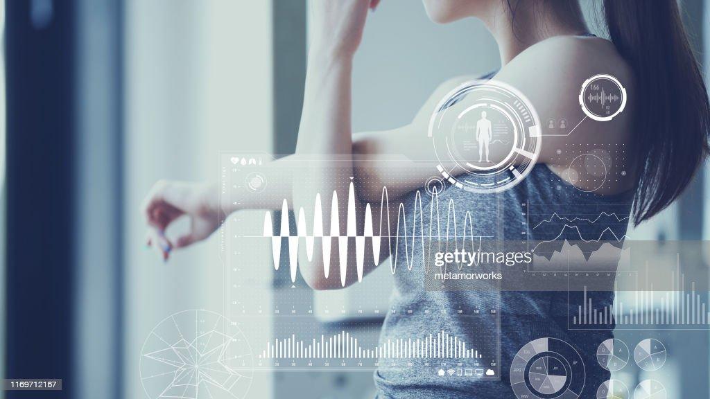 Konzept der Gesundheitstechnologie. Vitalzeichen-Erkennung. : Stock-Foto