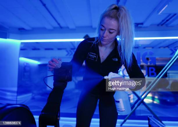 """Health club staff clean equipment as they prepare the St Michael""""u2019s Hotel Health Club to be ready to welcome back fitness enthusiasts after the..."""