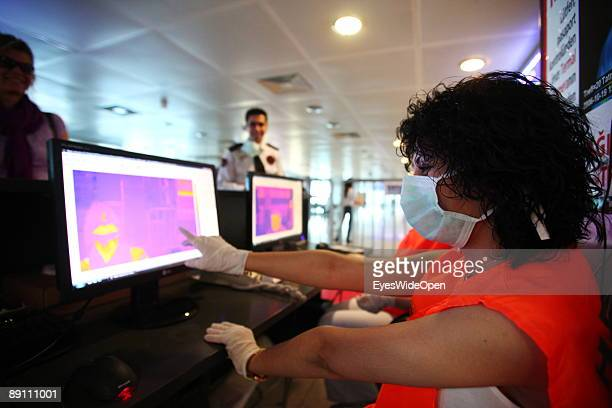 Health control and screening procedure at Istanbul Atatuerk Airport due to spread of the H1N1 virus on May 20 2009 in Istanbul Turkey