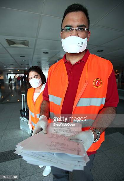 Health control and screening procedure at Istanbul Atatuerk Airport on May 20 2009 in Istanbul Turkey