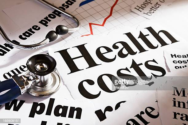 Health cost headlines, stethoscope and rising graph