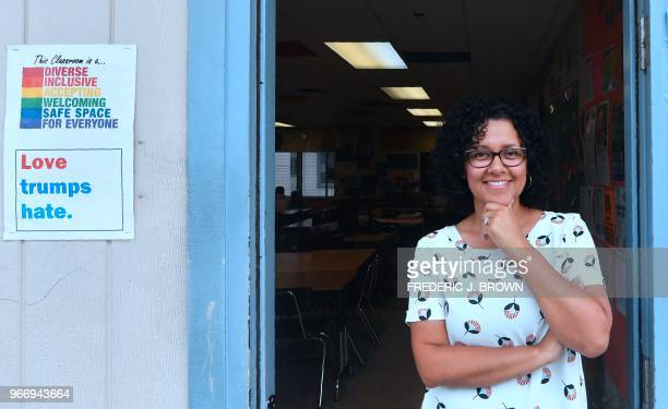 Health Education teacher Leticia Jenkins stands in the doorway of her classroom at James Monroe High School in North Hills California on May 18 where...