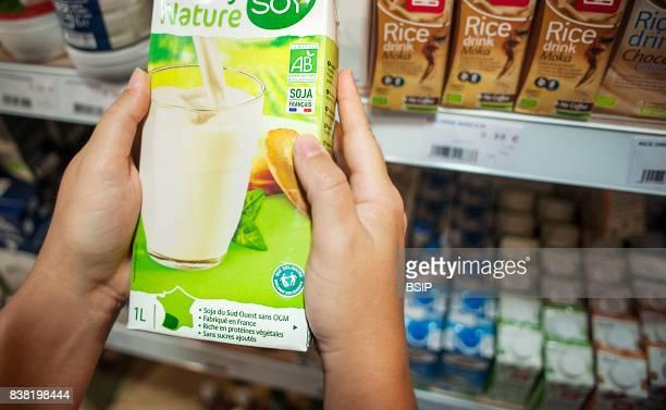 Health food shop French organic soy milk