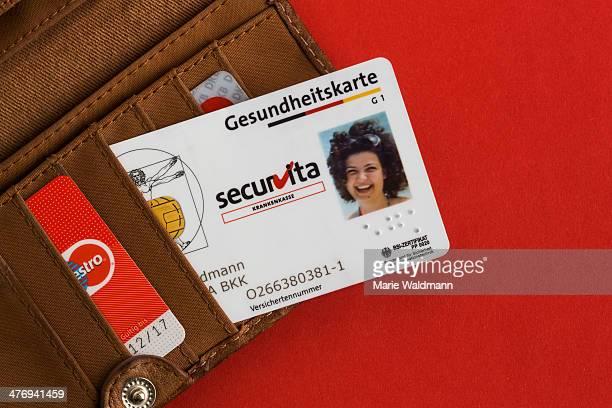 Health insurance card in a wallet on February 25 2014 in Berlin Germany