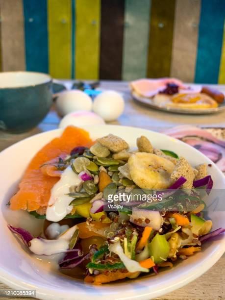 health lifestyle breakfast, copenhagen, denmark - vsojoy stock pictures, royalty-free photos & images
