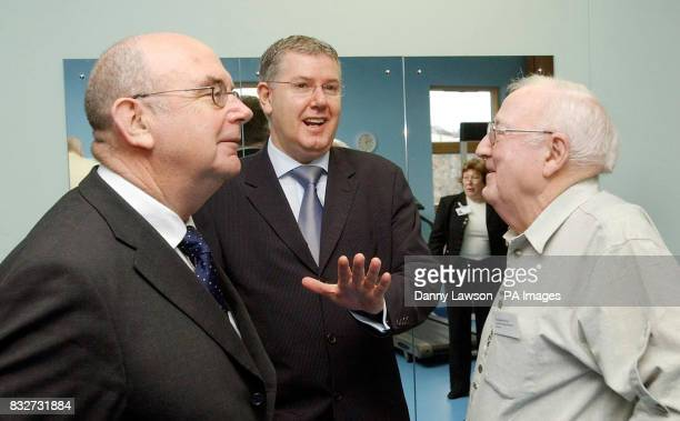 Health minister Andy Kerr chats to the Interim Chairman of NHS Lothian Bob Anderson and fitness class member Thomas McKay during a visit to a fitness...