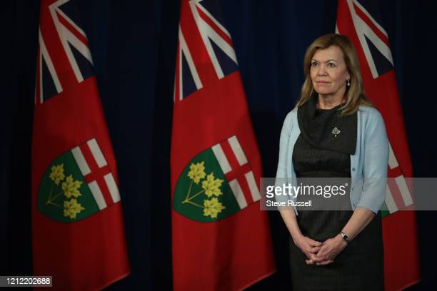 Health Minister Christine Elliott listens to a question as she and Premier Doug Ford and Minister of Finance Rod Phillips take questions during the...