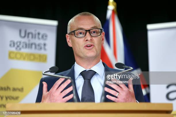 Health minister David Clark speaks to media during a press conference on March 19, 2020 in Wellington, New Zealand. The New Zealand government is...