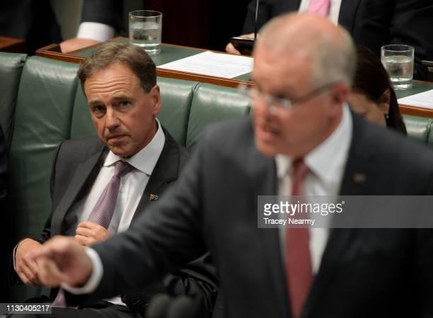 Health Minister Greg Hunt watches Prime Minister Scott Morrison speak at Parliament House on February 18 2019 in Canberra Australia Support for...