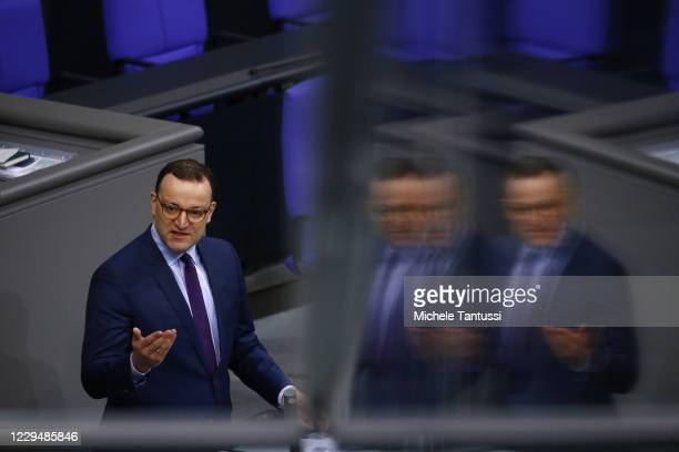 Health Minister: Jens Spahn , addresses the members of parliament during his report on the actual situation of the Covid-19 Pandemic in the plenary...